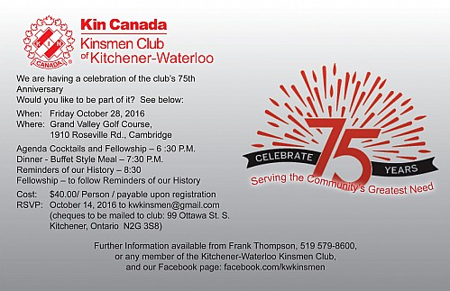 Kitchener-Waterloo Kinsmen 75th Anniversary, Octboer 28, 2016