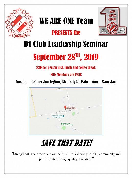 District 1 Kin Club Leadership Seminar - Saturday, September 28, 2019